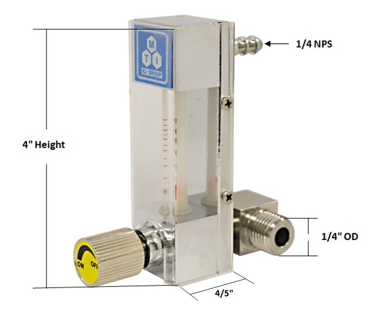 Compact direct read flow meter cc min with