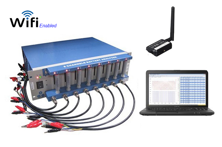 8 Channel Battery Analyzer (6-3000mA, up to 5V) with Laptop