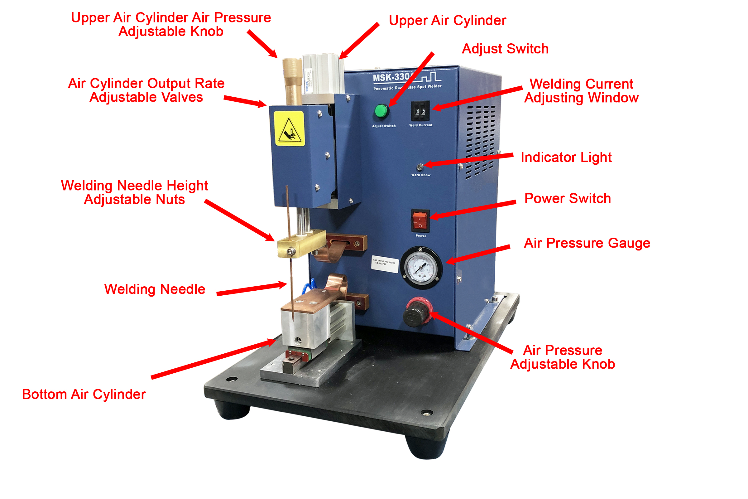 Precise Pneumatic Point Welding Machine For Professional Li On Battery Research Msk 330a