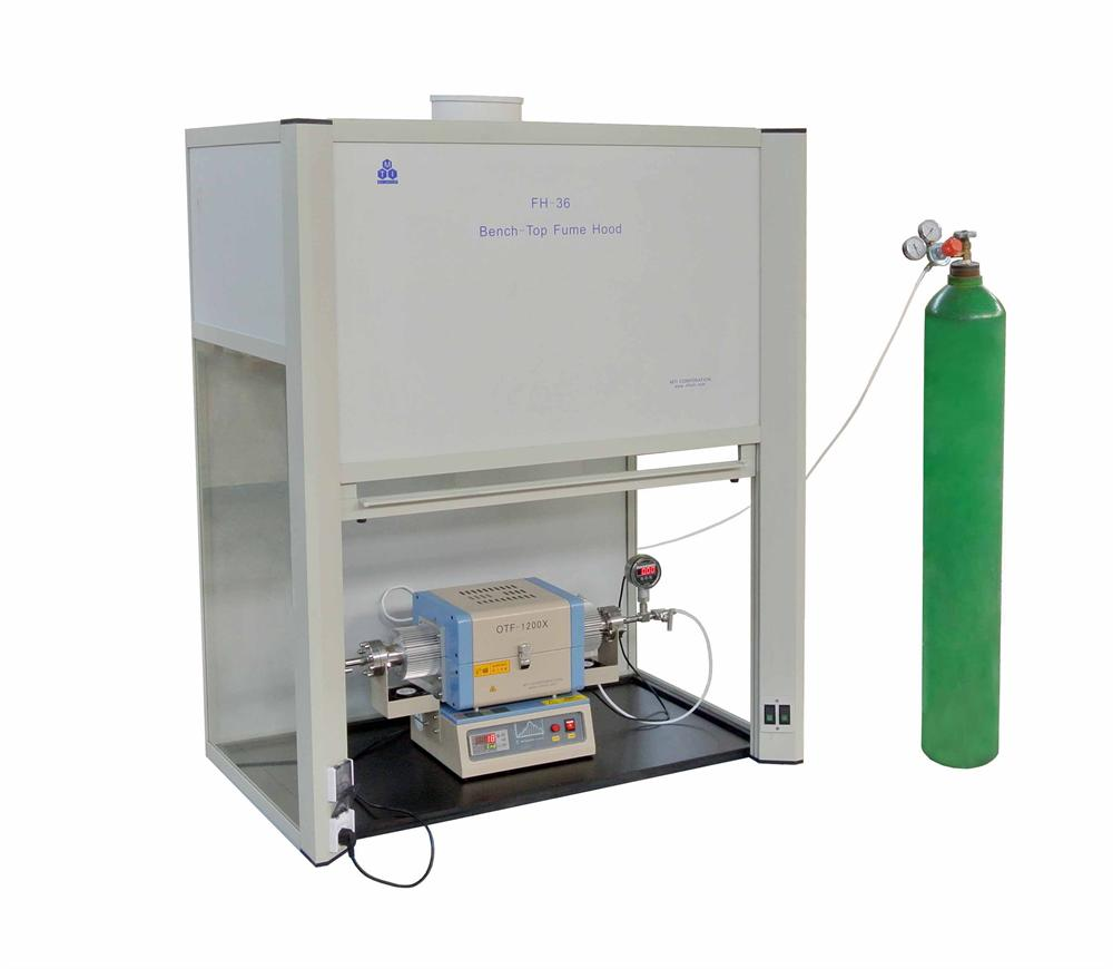 MTI fume hood with tube furnace